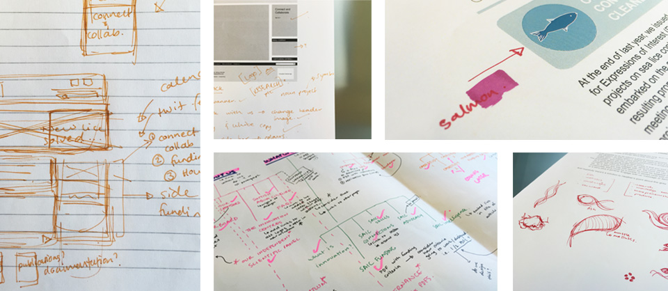 Initial sketches and wire frame plans for the website
