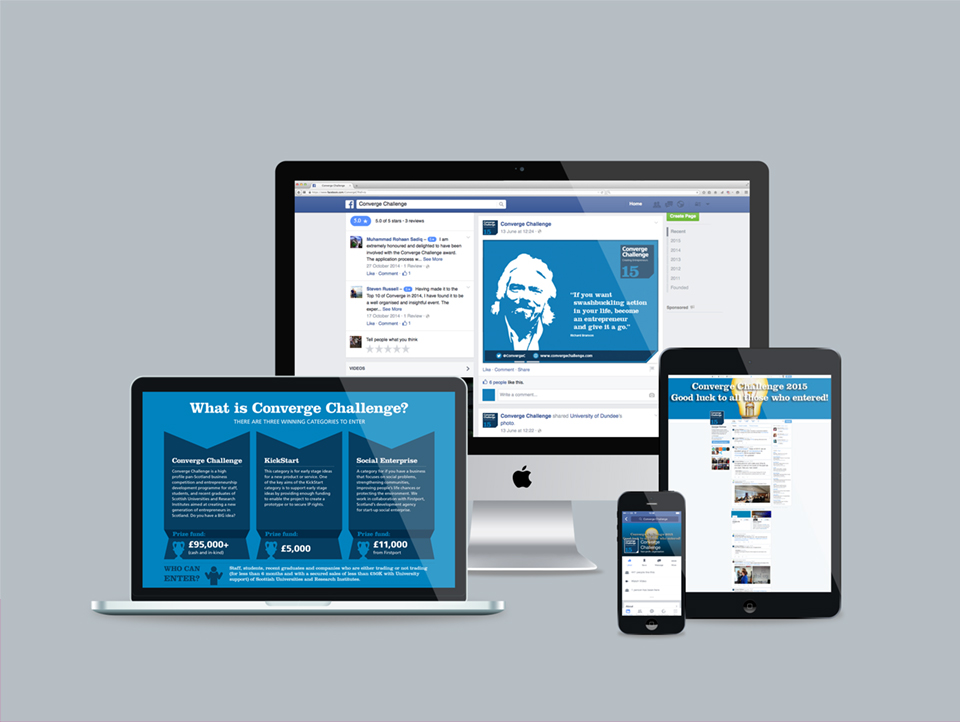 A range of the digital marketing material created for the Converge Challenge