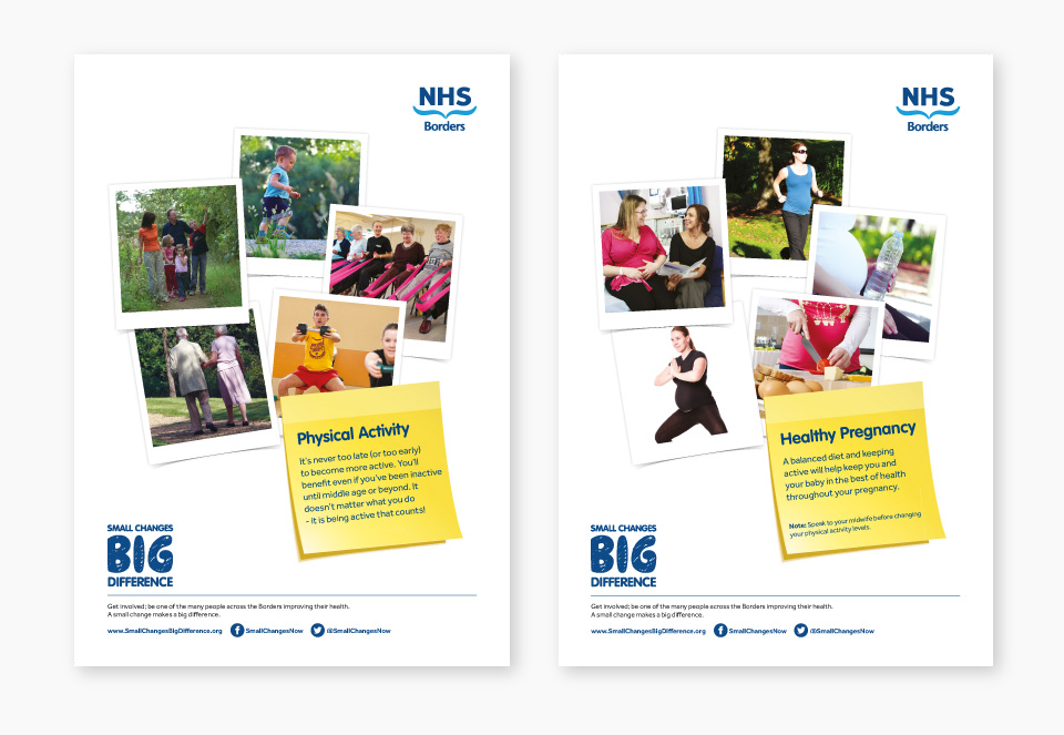 Final posters for the campaign with tips for improved health