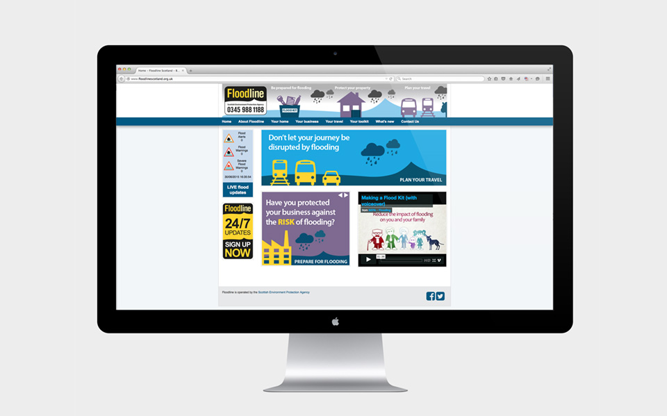 Floodline website with brand refresh and elements in place