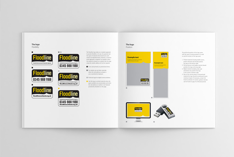 Brand guidelines, detailing logo placement, usage and colour scheme
