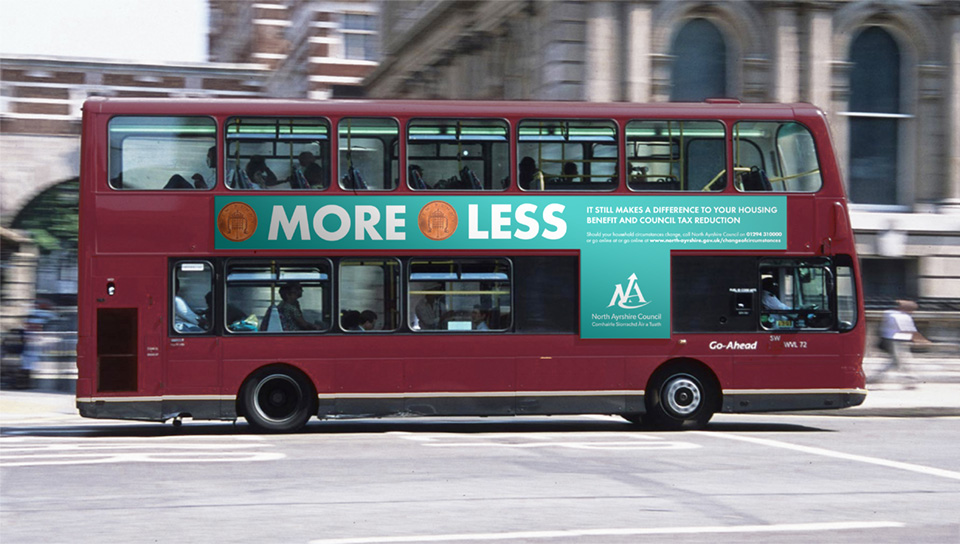 Clear campaign messages applied to bus side