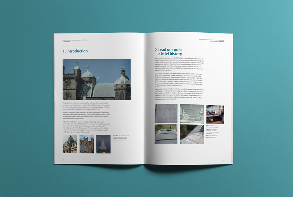 Introductory spread with balanced photography and text, with headings colour coded to the cover