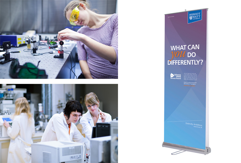 Photography of women in STEM and a designed pop up banner