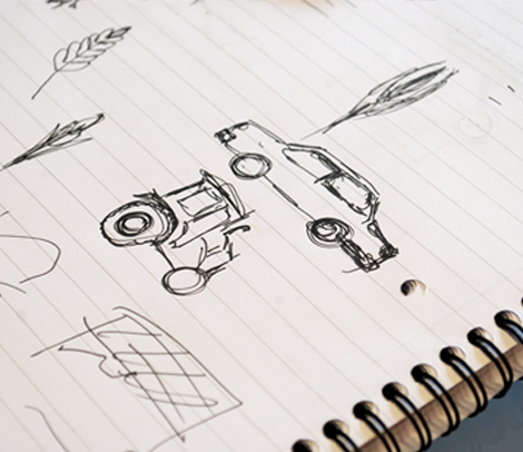 Close up sketches showing initial design of icons used in the infographics