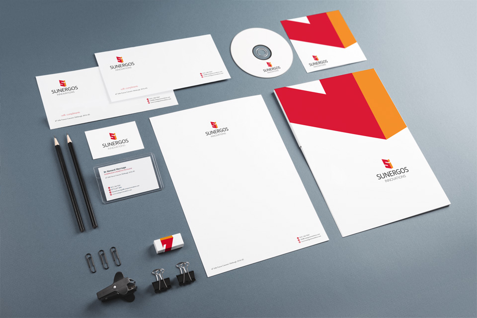 Selection of branded stationery including business cards and letter heads