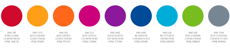 Vibrant colour palette created to help the company to stand out