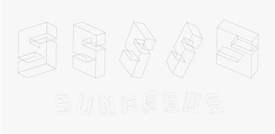 sketches showing the progression and refining of the 'S' logo