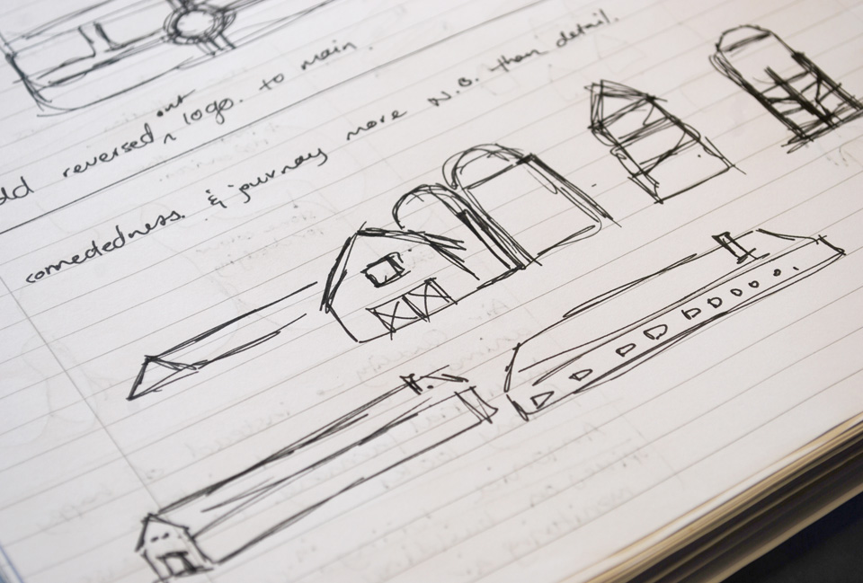 Further sketches showing the design process of creating the icons