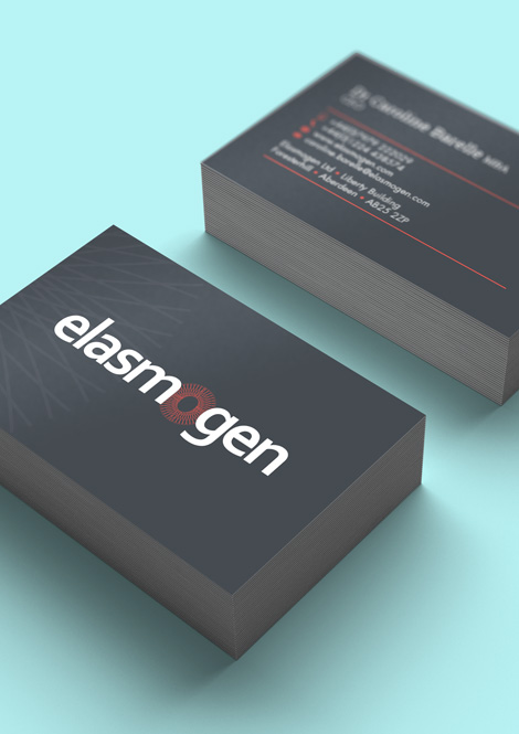Business cards with view of front and back details