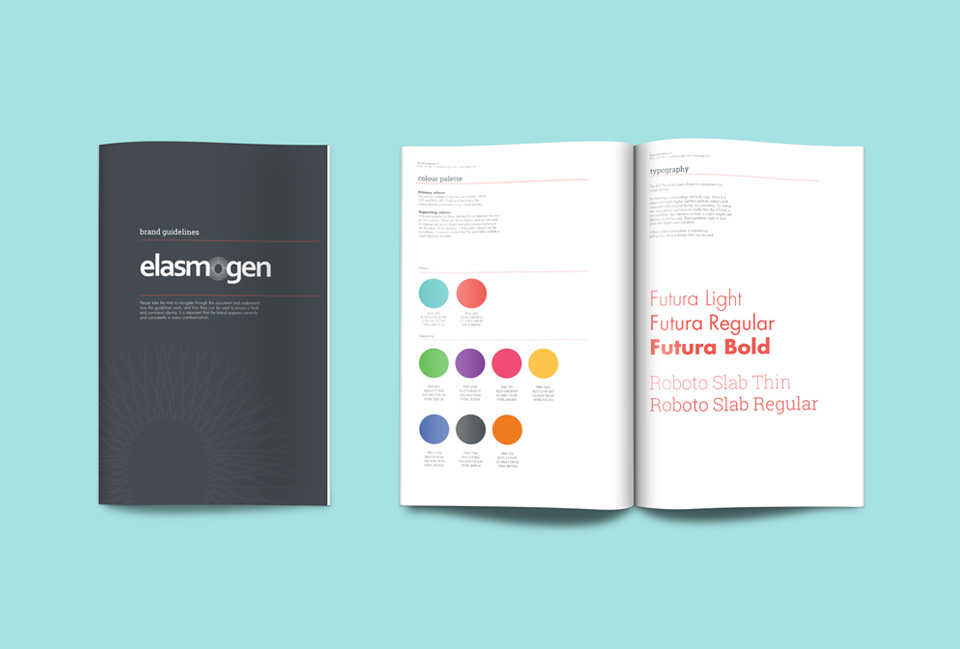 Brand guidelines cover with inside spread showing font and colour choices