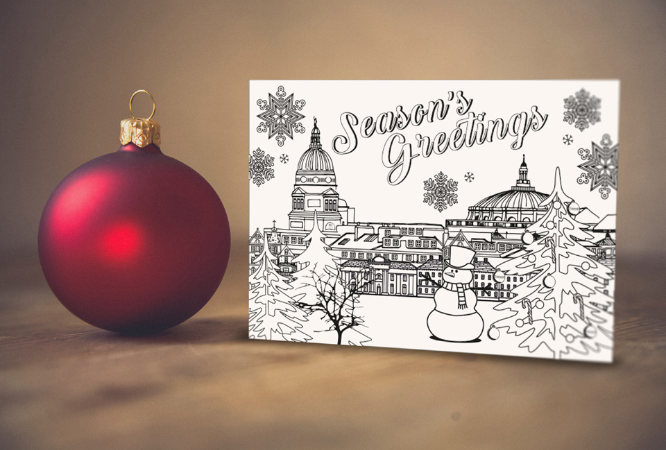 The final printed Christmas card with season's greetings