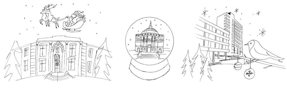 Original illustration designs for the various christmas cards