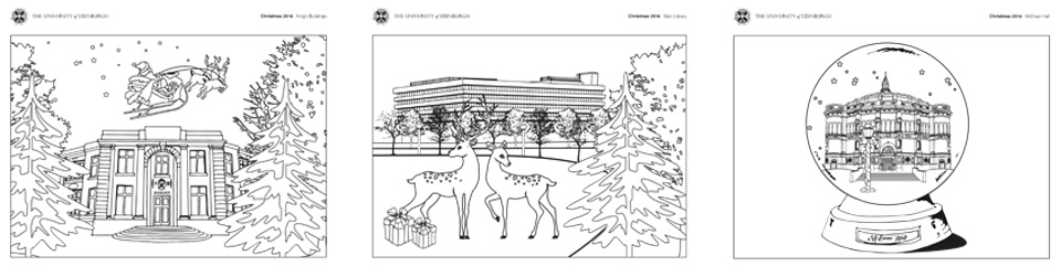 The refined and final designs created to show the university buildings in festive scenes